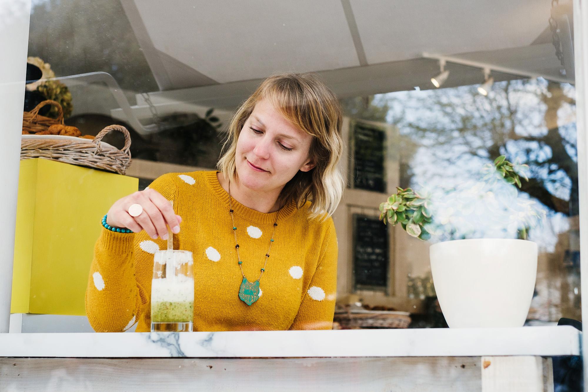 woman in coffee shop brighton