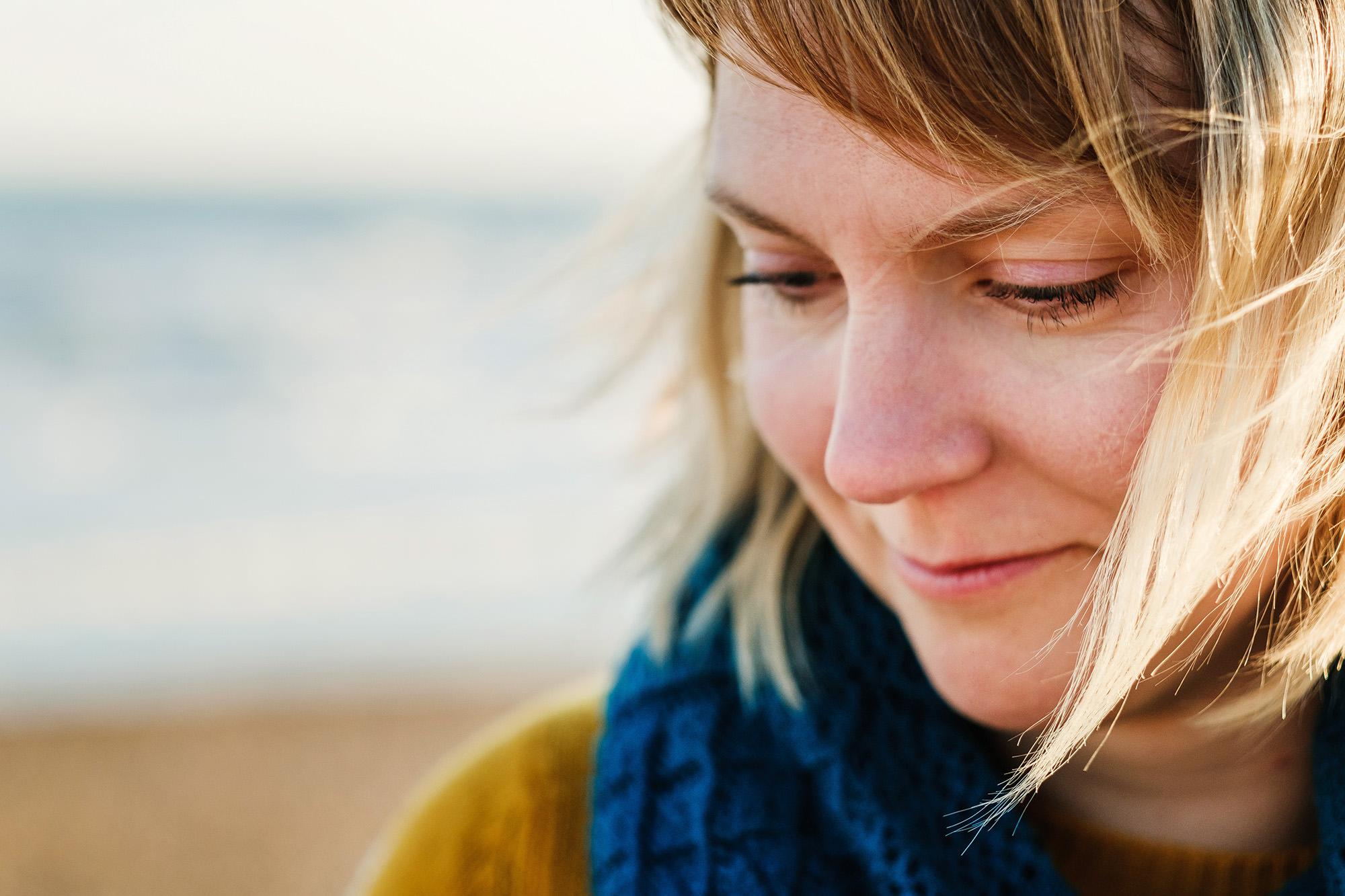 sunset beach portrait closeup