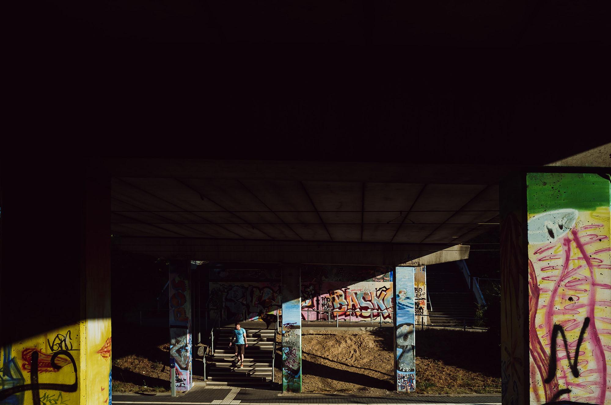 light and shadow train station gruenau