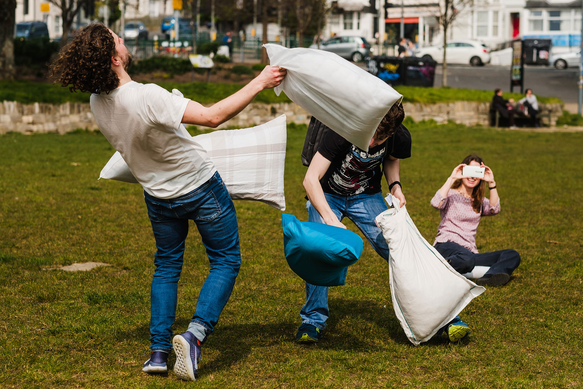 Documentary photography Brighton pillow fight