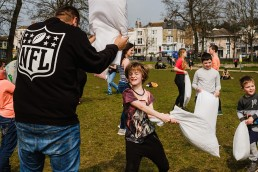 documentary photography . Brighton Pillow Fight