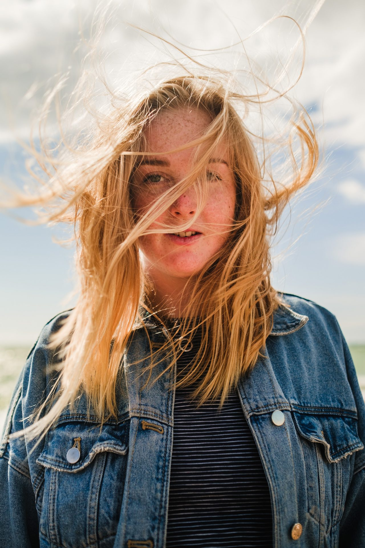 wild beach hair in the wind
