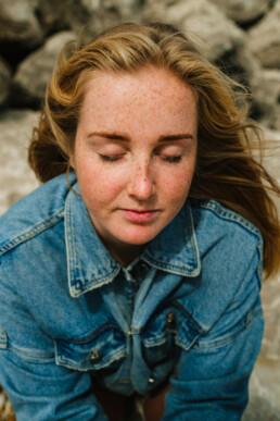 portrait woman eyes closed