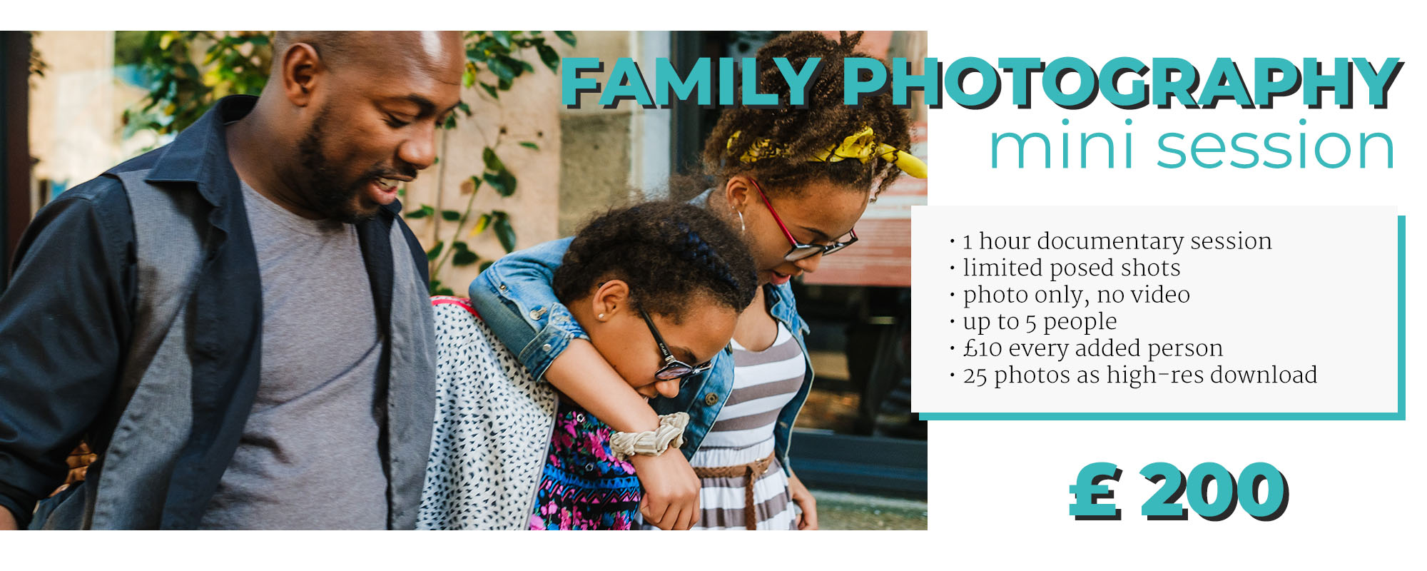 family photography booking pricing