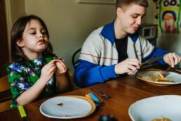 eating pancakes, documentary family photos