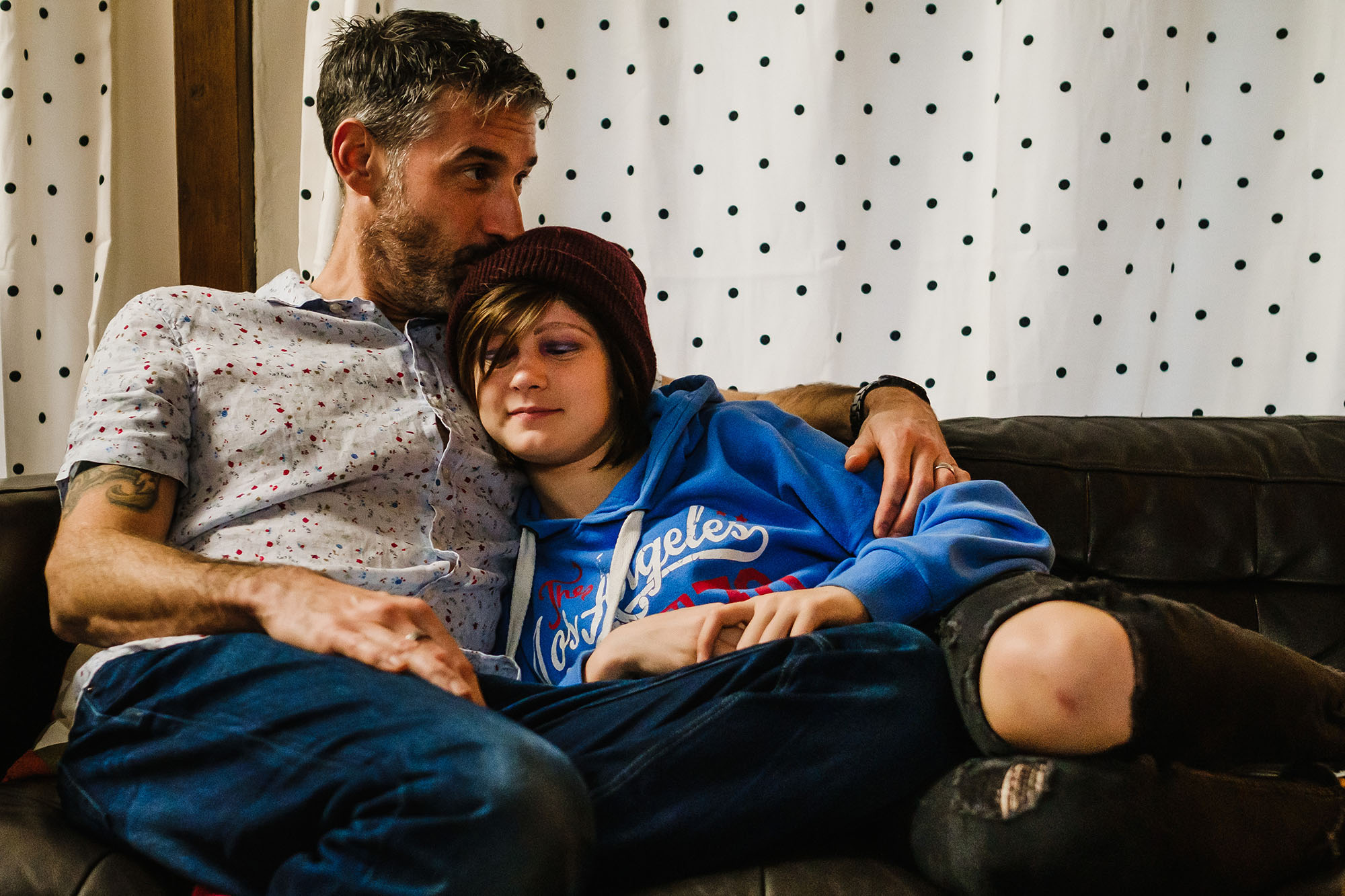 dad and daughter on couch, Family films Sussex Somerset UK