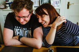 documenting life - couple in love working from home together