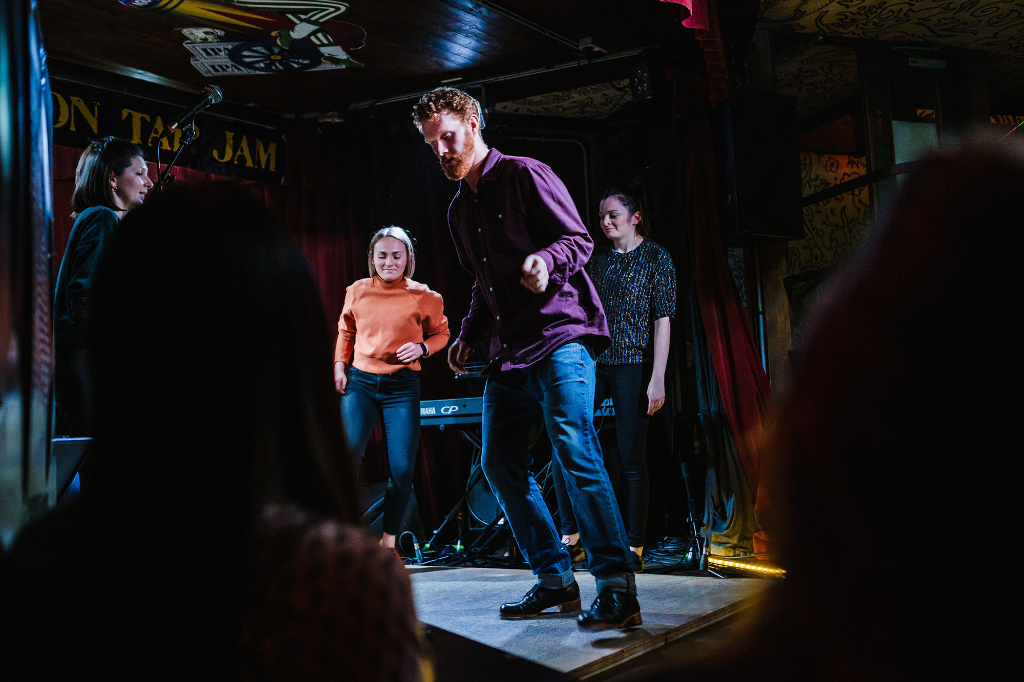 Dancer Ryan tapping and jamming in London on stage