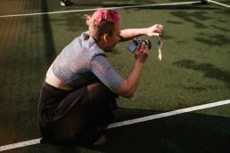 Anna shooting through necklace creative portrait