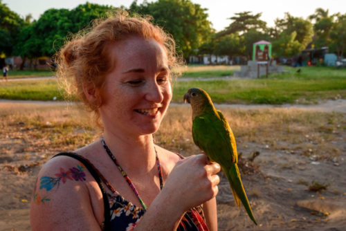 Anja with a bird in Colombia