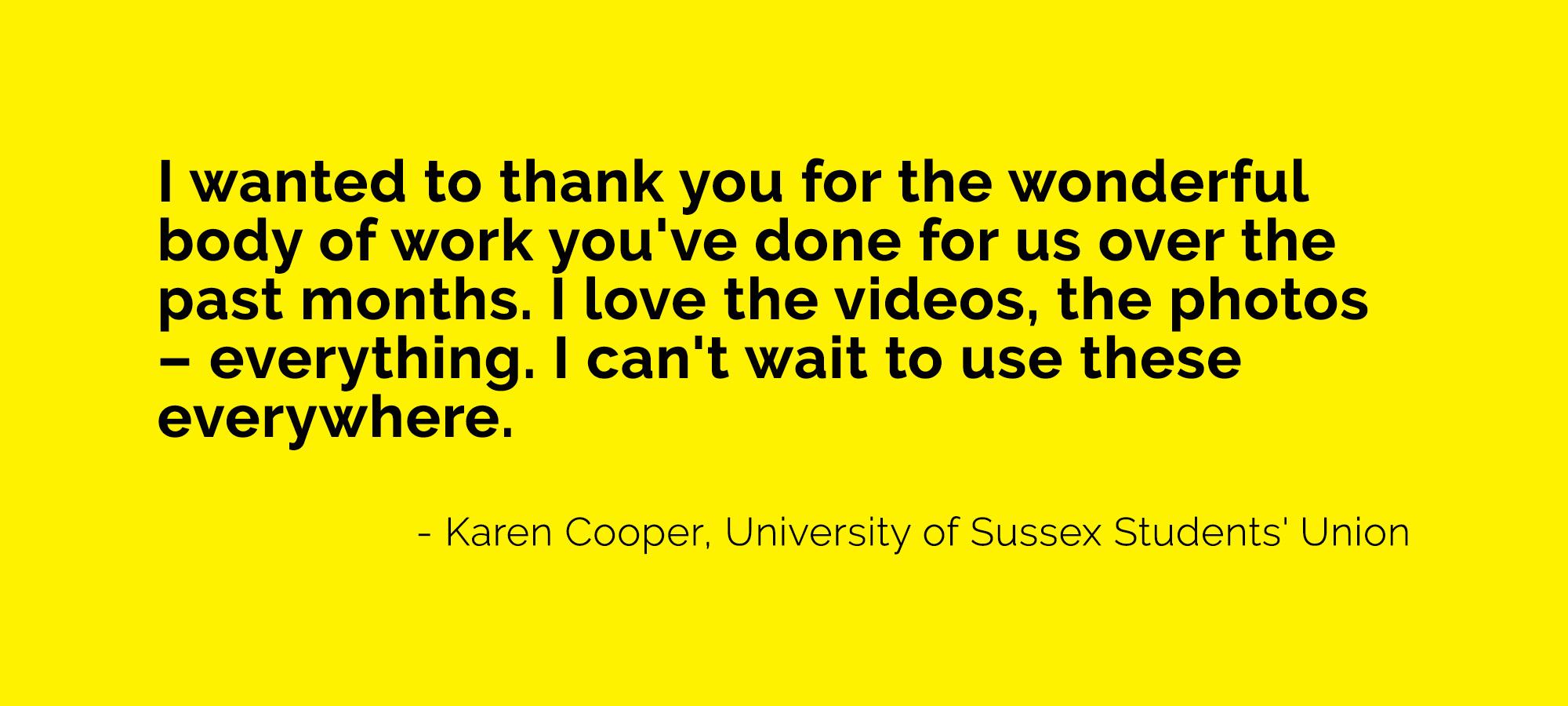 client testimonial Karen University of Sussex Students' Union