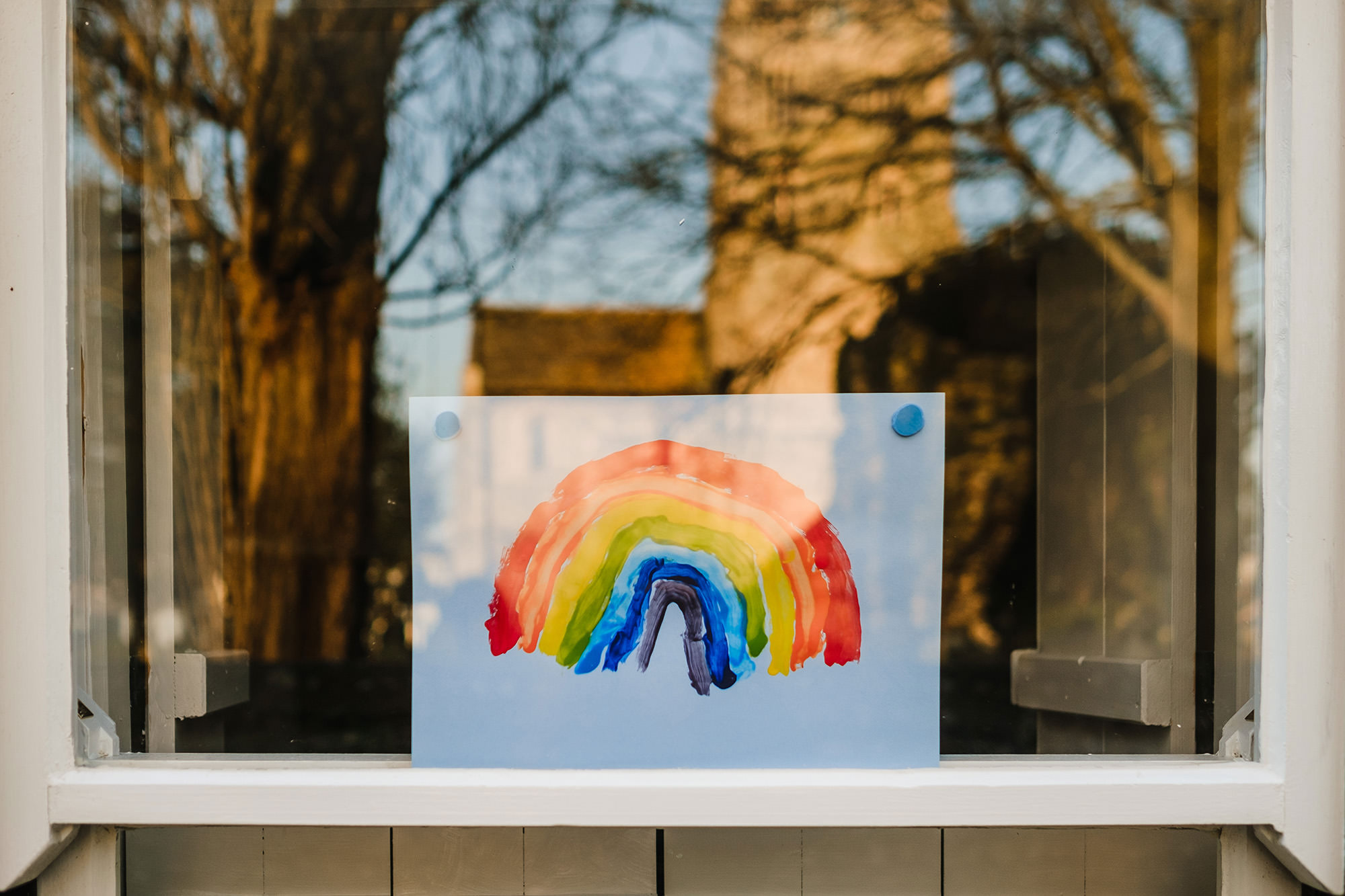 nhs and key worker giveaway rainbow in window