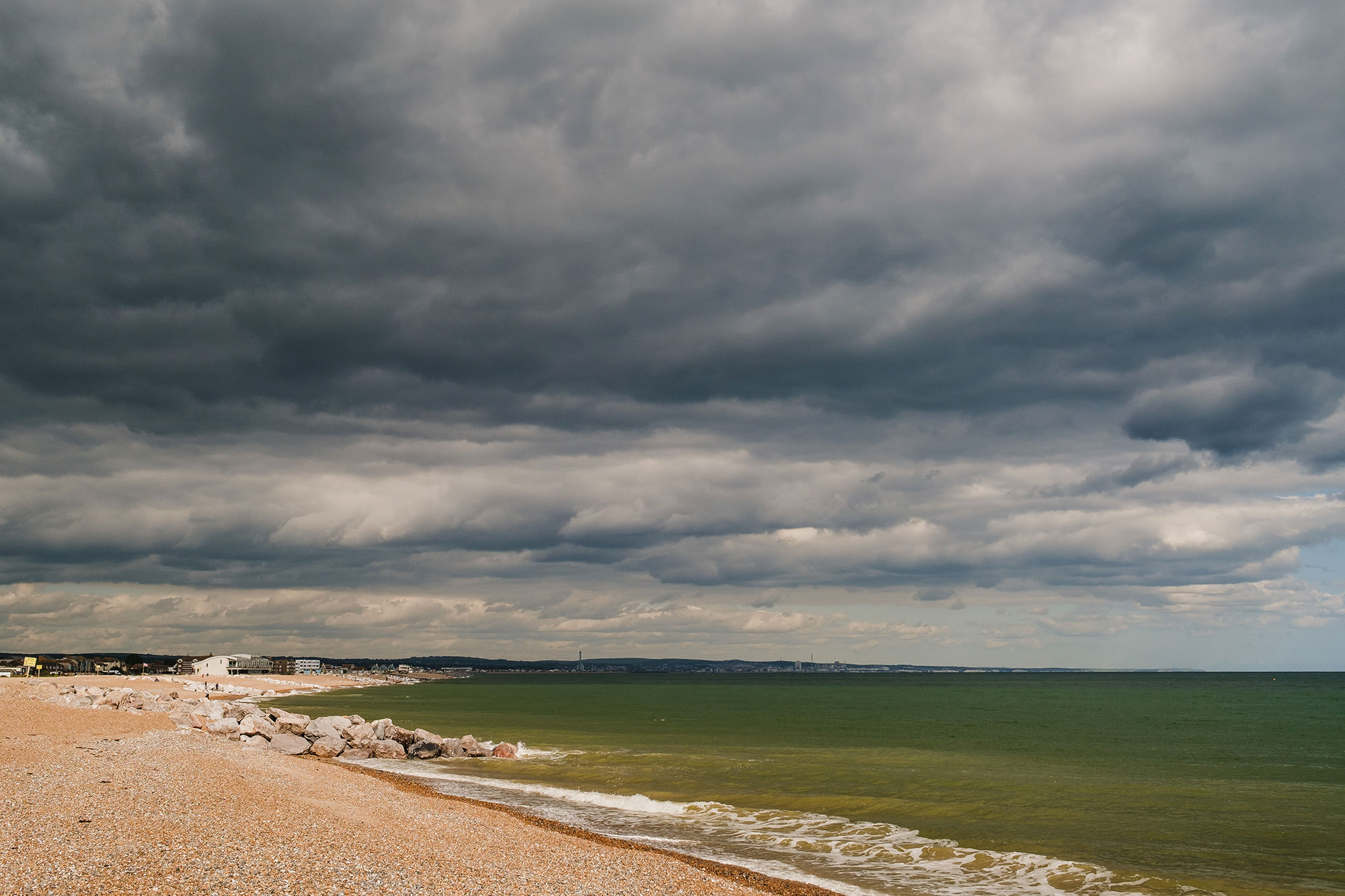 dark clouds over lancing beach