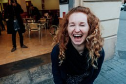 Anja laughing in Barcelona