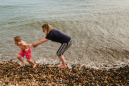 mother and son at the beach in Hove