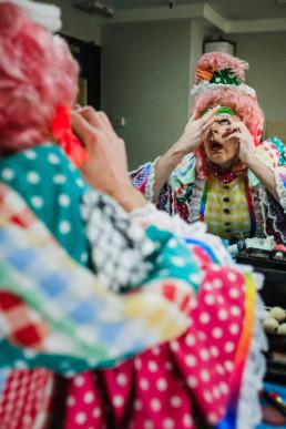 pantomime dame make up room exhibition pandemic
