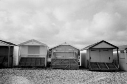 beach huts landing film photography